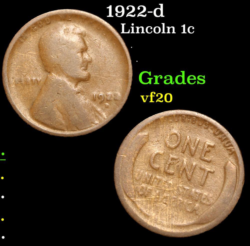 1922-d . . Lincoln Cent 1c Grades vf, very fine