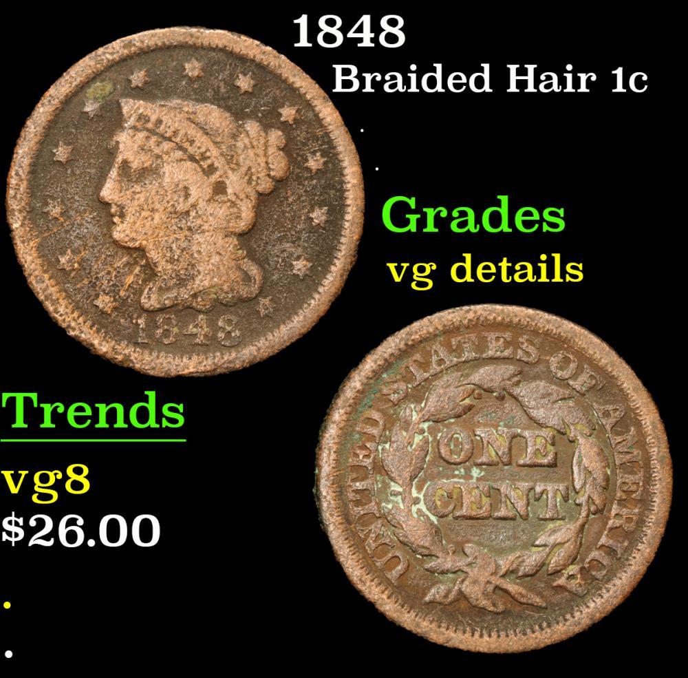 1848 . . Braided Hair Large Cent 1c Grades vg details