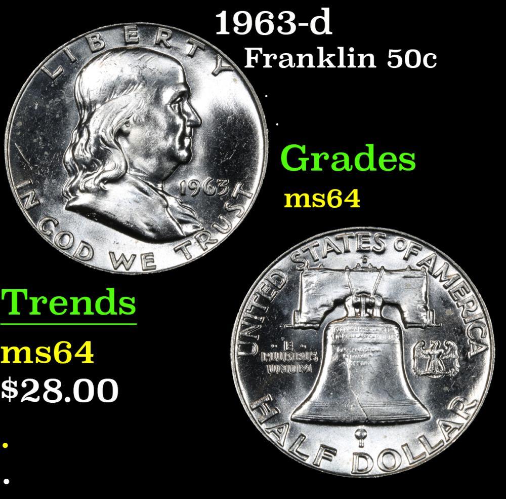 1963-d . . Franklin Half Dollar 50c Grades Choice Unc