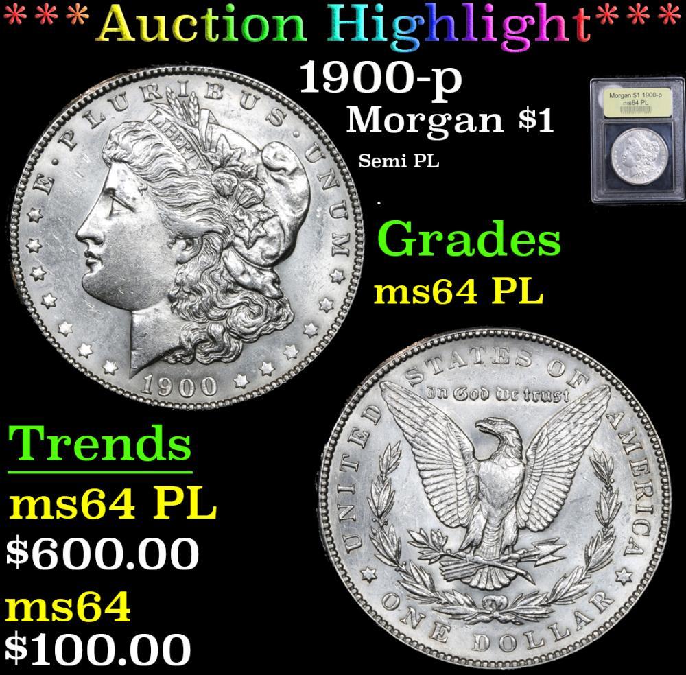 ***Auction Highlight*** 1900-p Semi PL . Morgan Dollar $1 Graded Choice Unc PL By USCG (fc)