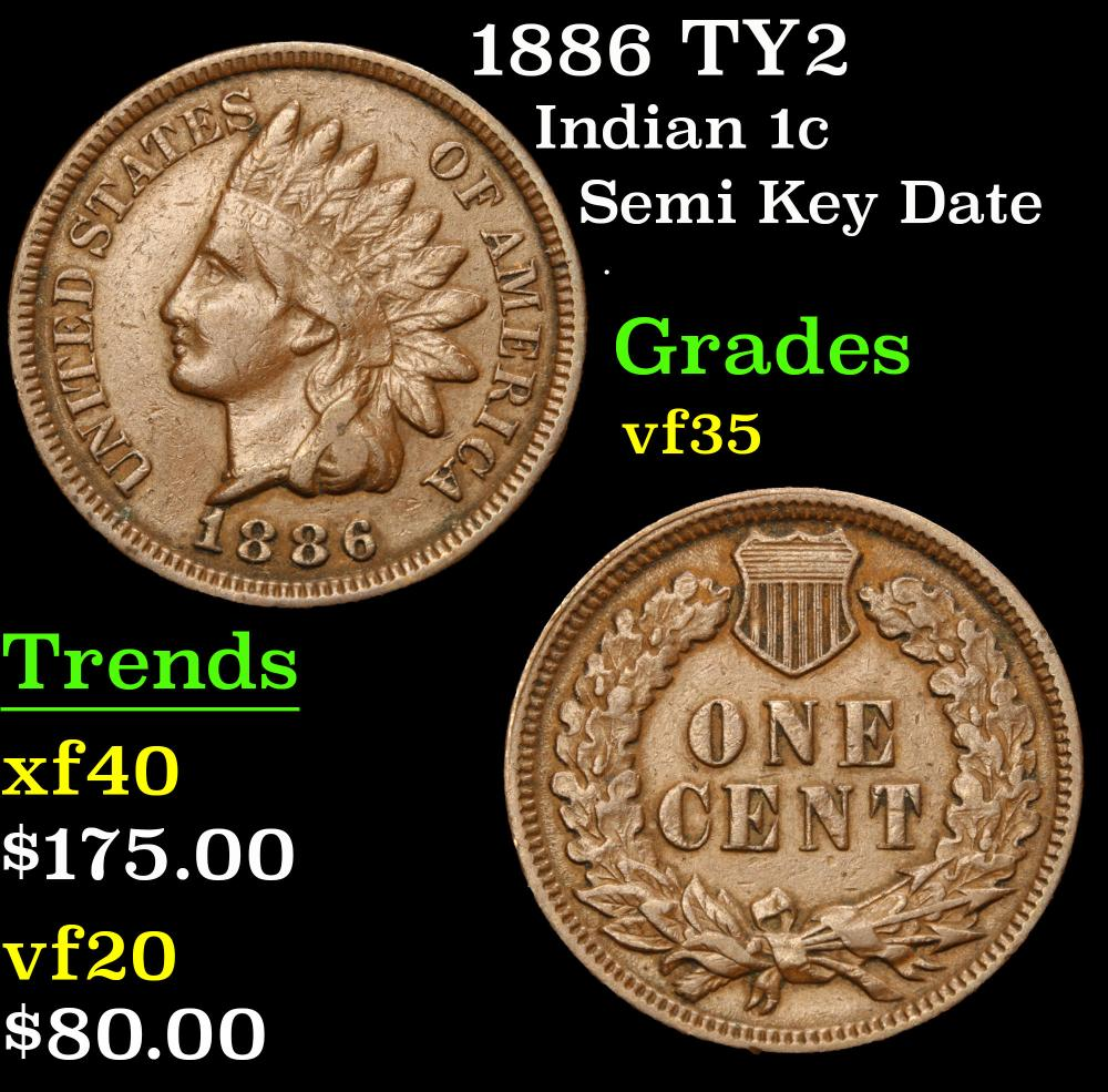 1886 TY2 Semi Key Date . Indian Cent 1c Grades vf++