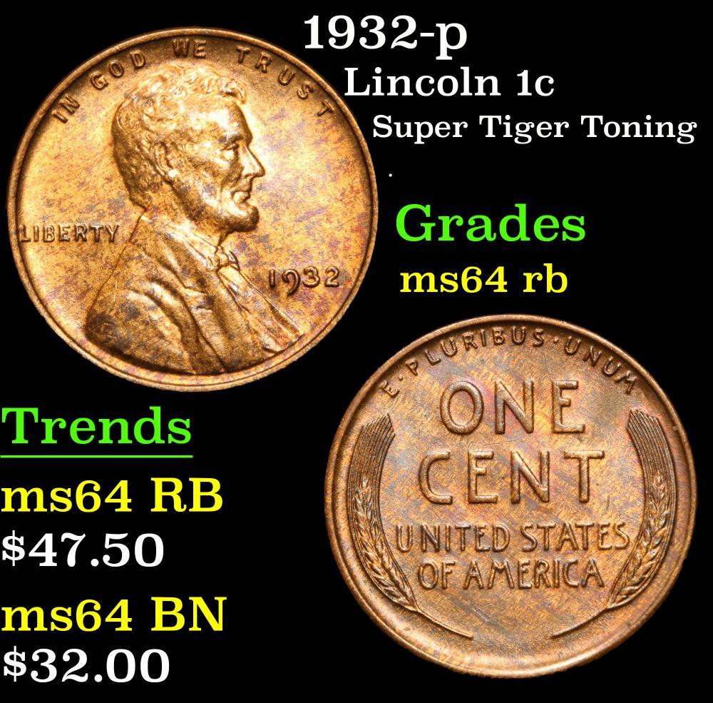 1932-p Super Tiger toning . Lincoln Cent 1c Grades Choice Unc RB