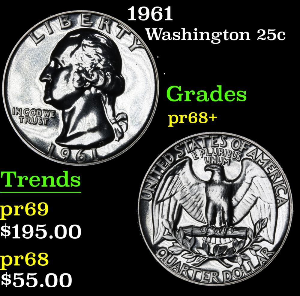 1961 . . Washington Quarter 25c Grades GEM++ Proof