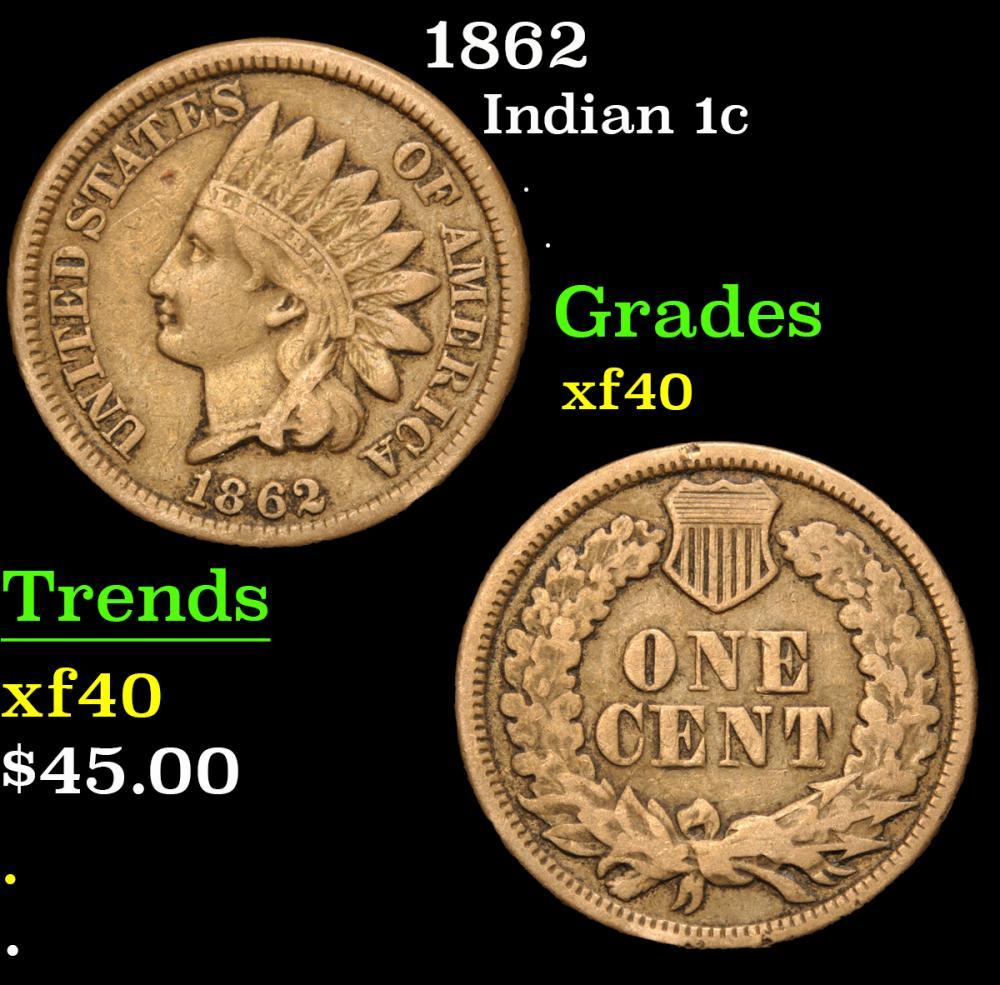 1862 . . Indian Cent 1c Grades xf