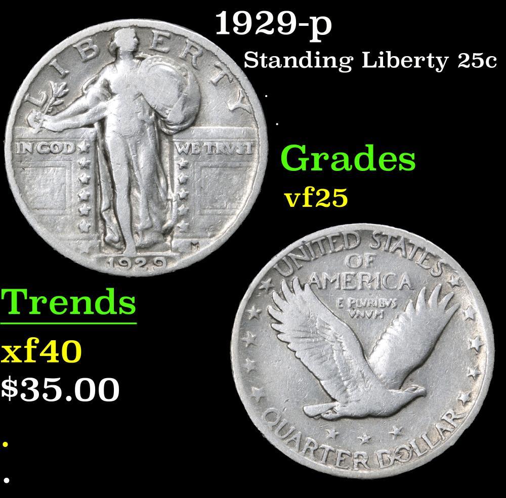 1929-p . . Standing Liberty Quarter 25c Grades vf+
