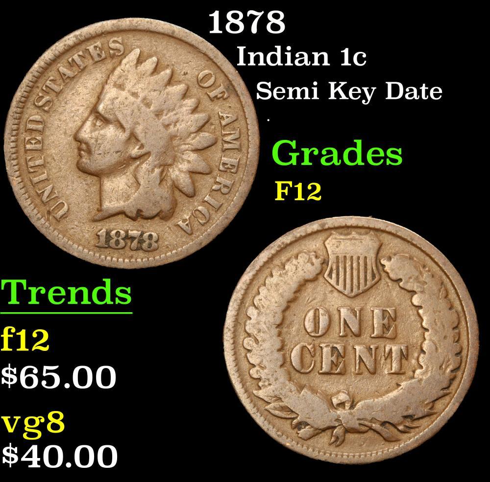 1878 Semi Key Date . Indian Cent 1c Grades f, fine