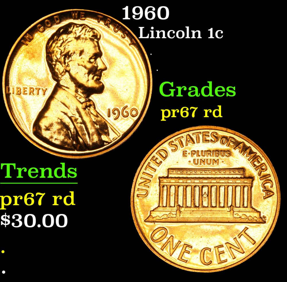 1960 . . Lincoln Cent 1c Grades Gem++ Proof Red