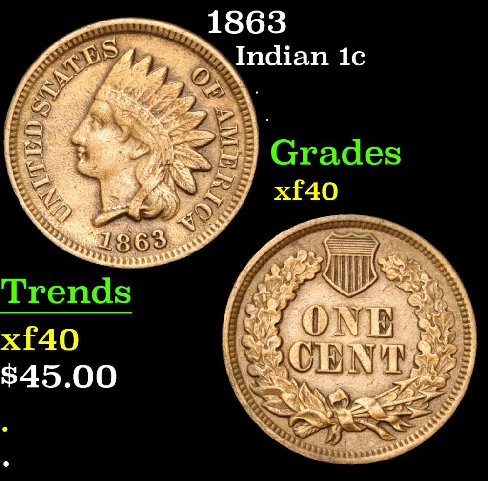 1863 . . Indian Cent 1c Grades xf