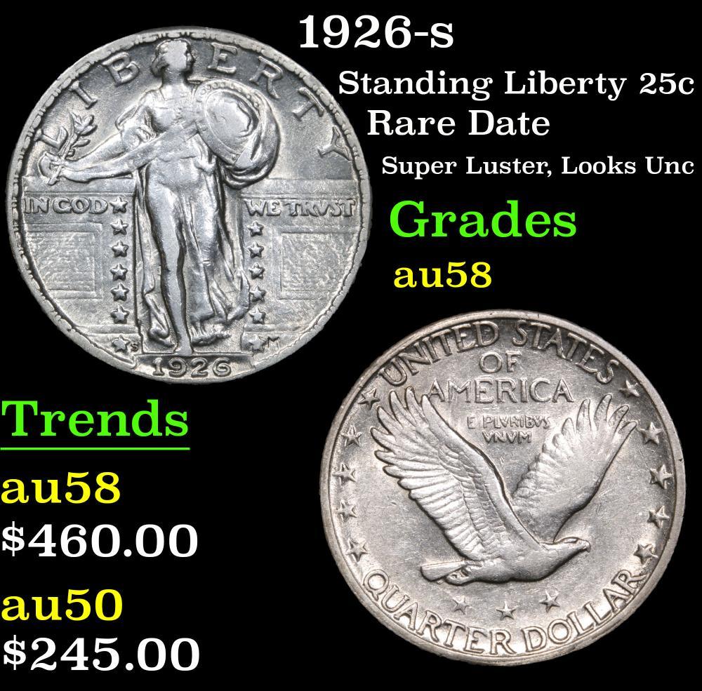 1926-s Rare Date Super Luster, Looks Unc Standing Liberty Quarter 25c Grades Choice AU/BU Slider
