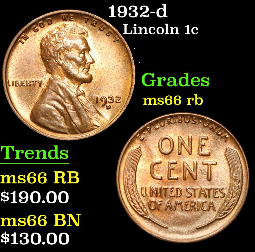 1932-d . . Lincoln Cent 1c Grades GEM+ Unc RB