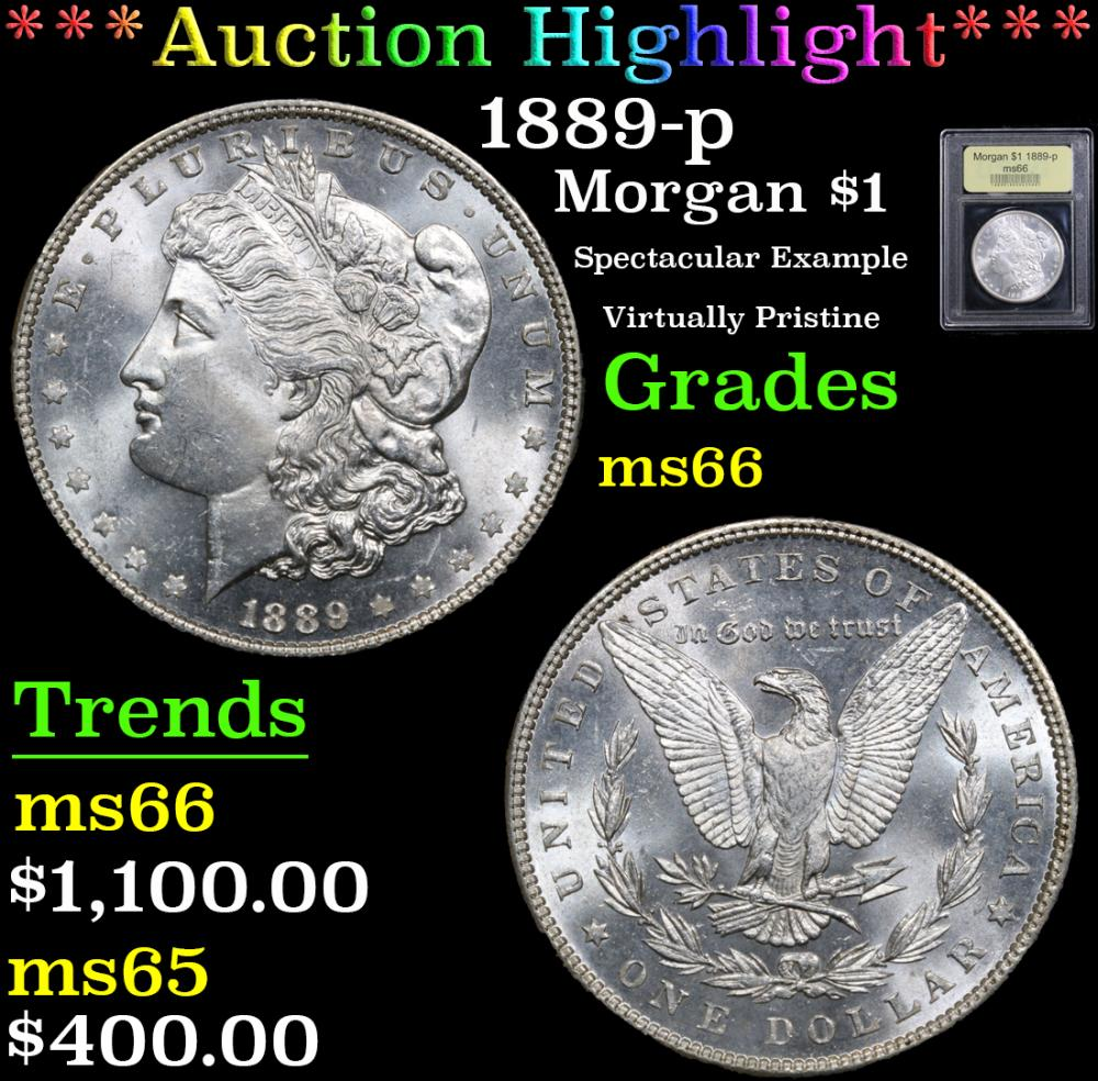 *Auction Highlight* 1889-p Spectacular Example Virtually Pristine Morgan $1 Graded GEM+ Unc By USCG (fc
