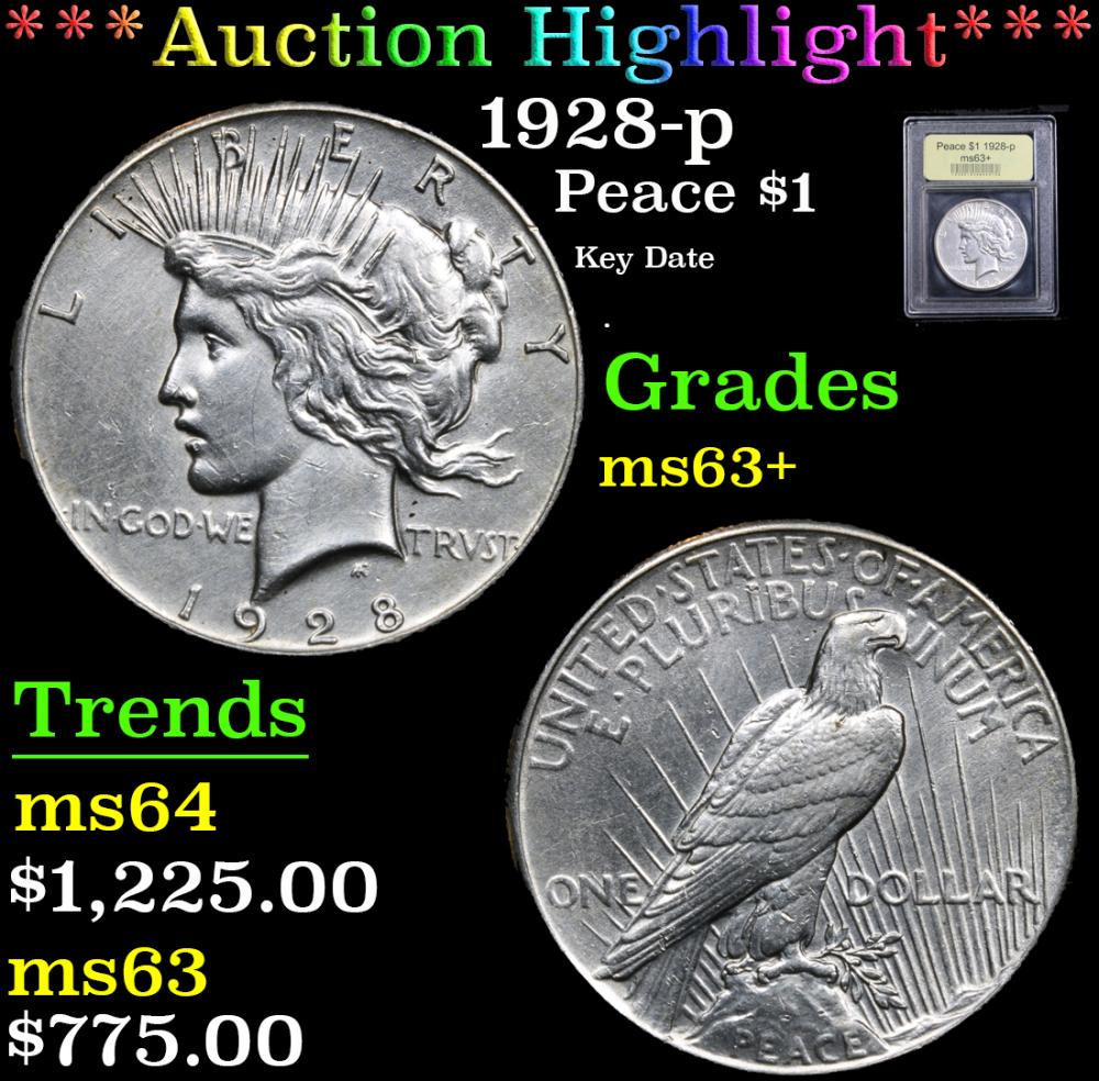 ***Auction Highlight*** 1928-p Key Date . Peace Dollar $1 Graded Select+ Unc By USCG (fc)
