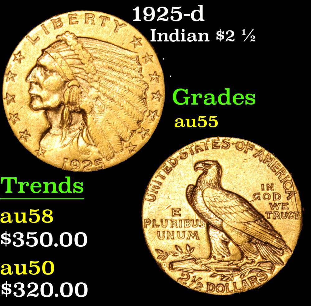 1925-d . . Gold Indian Quarter Eagle $2 1/2 Grades Choice AU