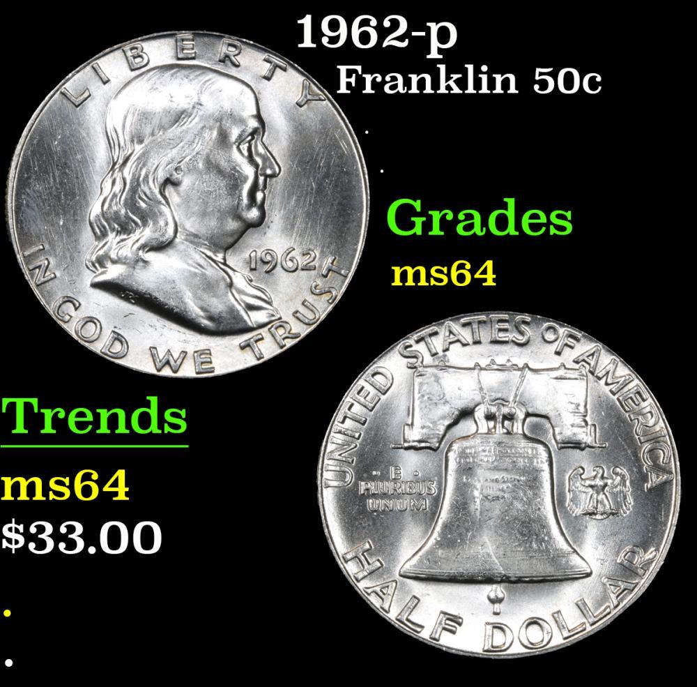 1962-p . . Franklin Half Dollar 50c Grades Choice Unc