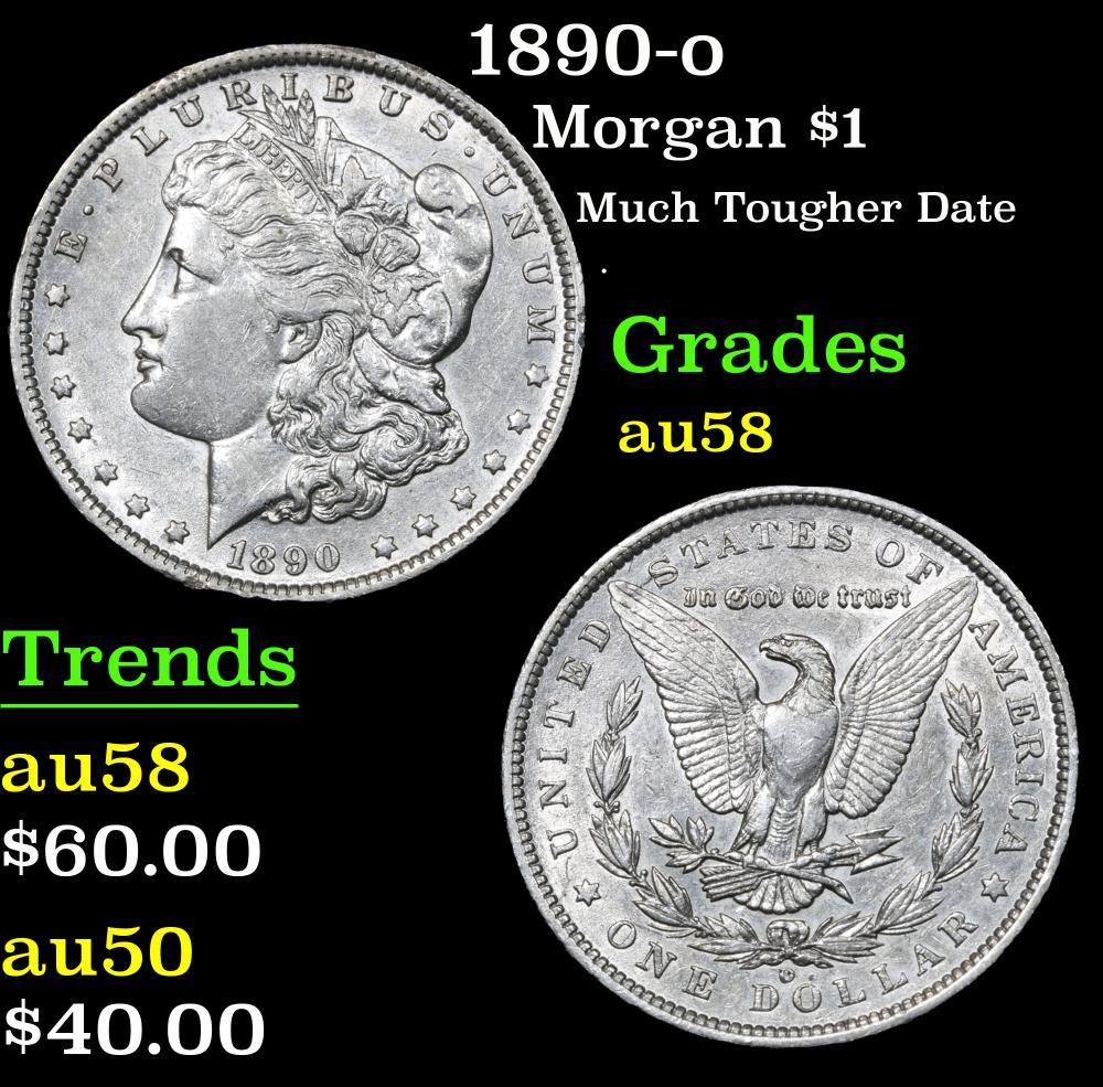 1890-o Much Tougher Date . Morgan Dollar $1 Grades Choice AU/BU Slider