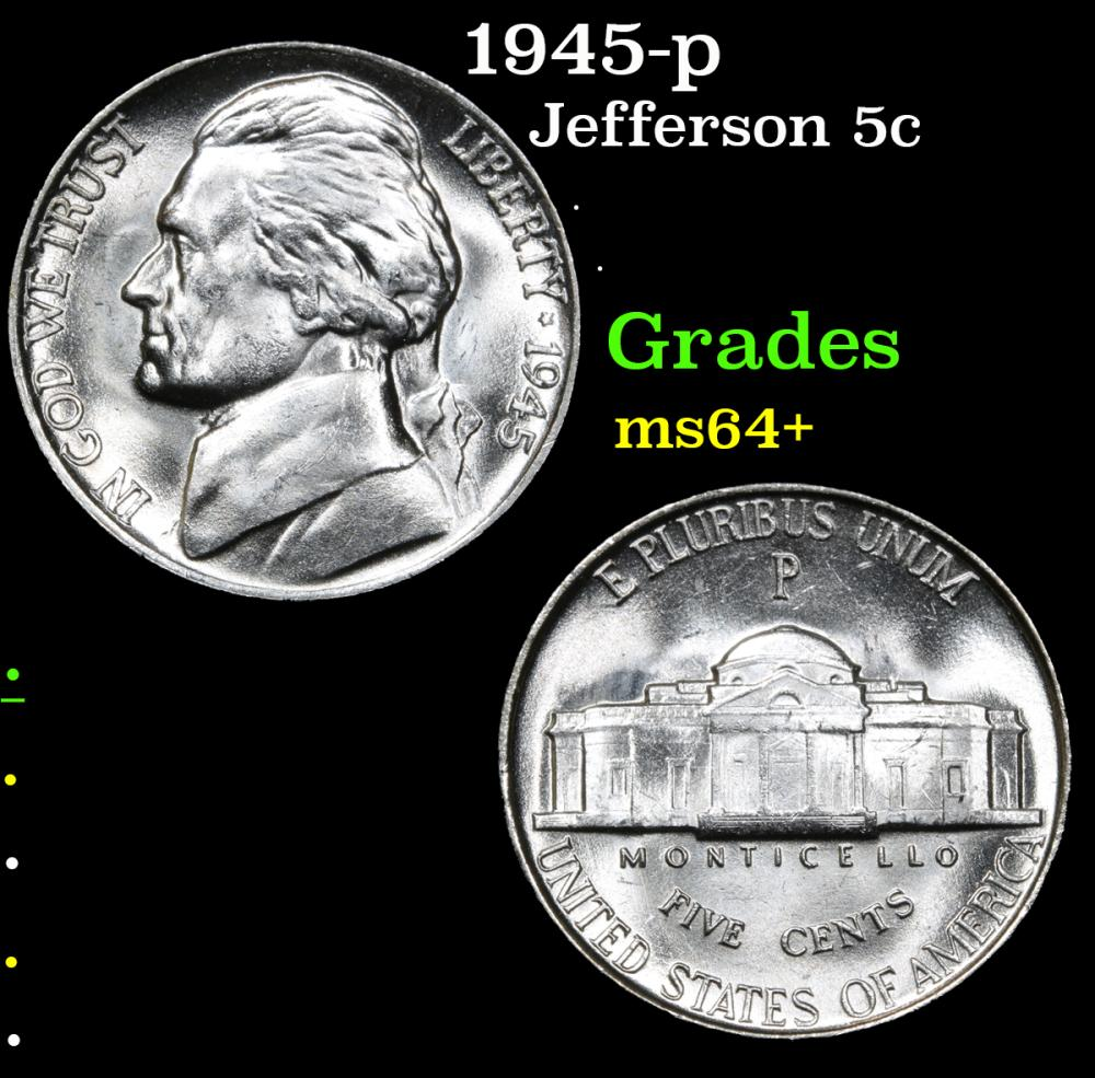 1945-p . . Jefferson Nickel 5c Grades Choice+ Unc