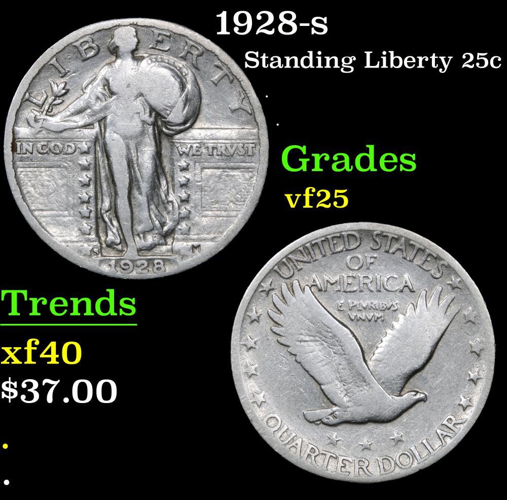 1928-s . . Standing Liberty Quarter 25c Grades vf+