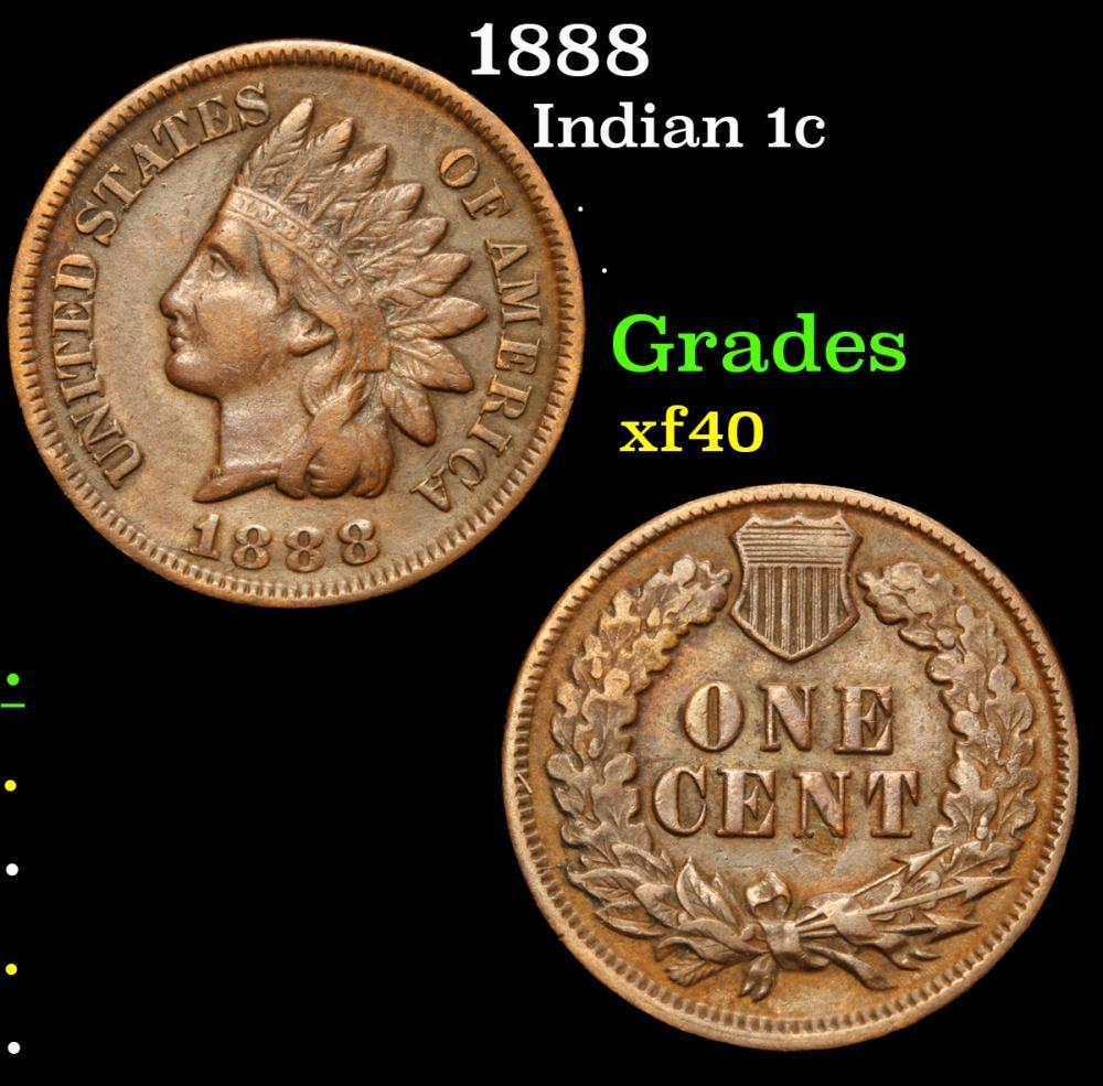 1888 . . Indian Cent 1c Grades xf