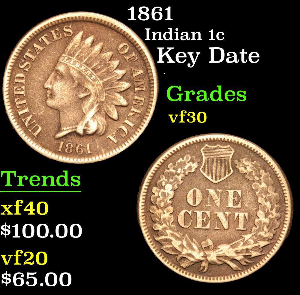 1861 Key Date . Indian Cent 1c Grades vf++
