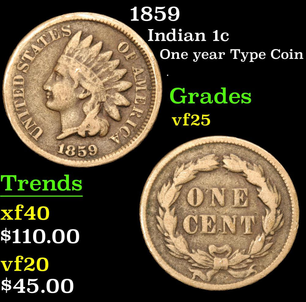1859 One year Type Coin . Indian Cent 1c Grades vf+