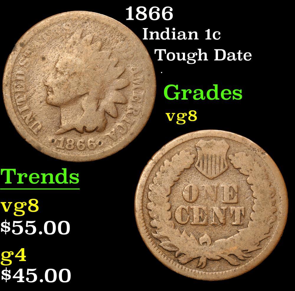 1866 Tough Date . Indian Cent 1c Grades vg, very good