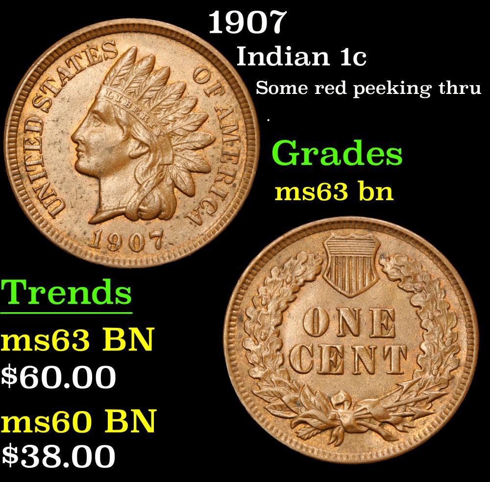 1907 Some red peeking thru . Indian Cent 1c Grades Select Unc BN
