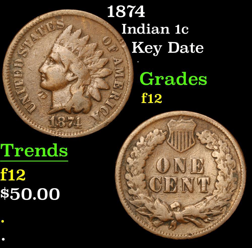 1874 Key Date . Indian Cent 1c Grades f, fine