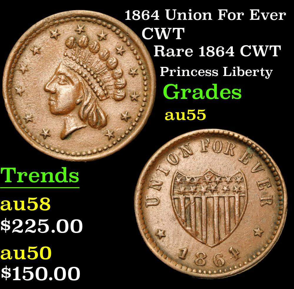 1864 Union For Ever Rare 1864 CWT Princess Liberty Civil War Token 1c Grades Choice AU