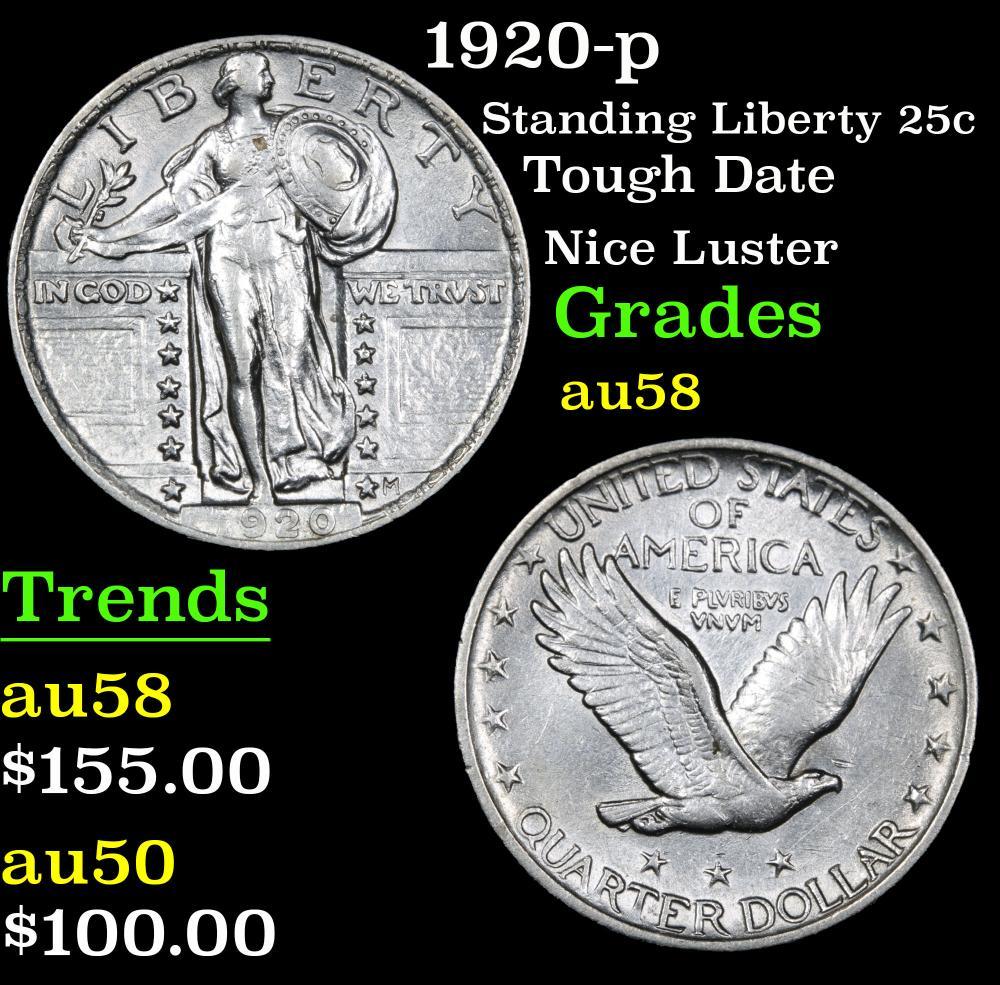 1920-p Tough Date Nice Luster Standing Liberty Quarter 25c Grades Choice AU/BU Slider