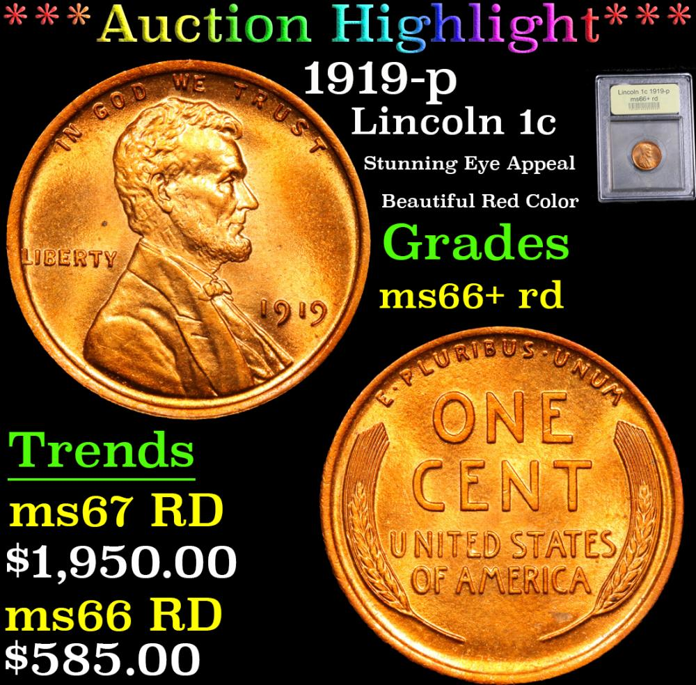 ***Auction Highlight*** 1919-p Stunning Eye Appeal Beautiful Red Color Lincoln Cent 1c Graded GEM++ RD By USCG (fc)