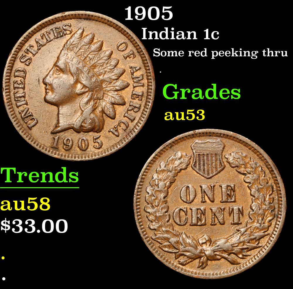 1905 Some red peeking thru . Indian Cent 1c Grades Select AU