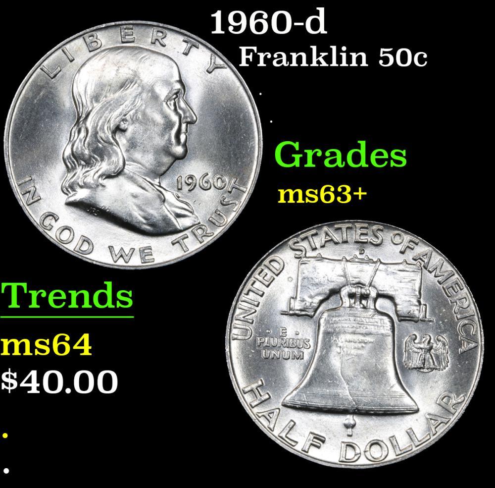 1960-d . . Franklin Half Dollar 50c Grades Select+ Unc