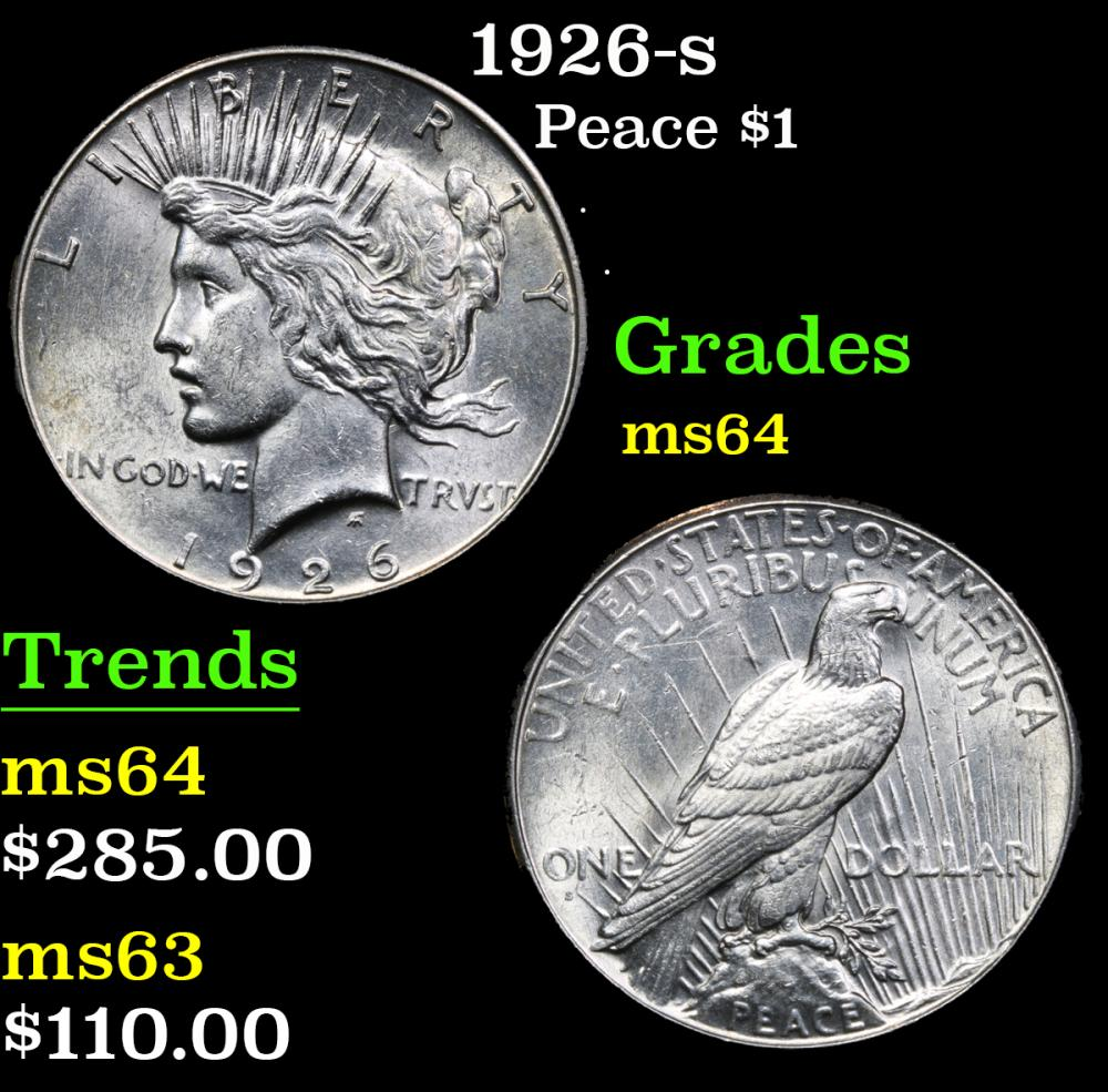 1926-s . . Peace Dollar $1 Grades Choice Unc