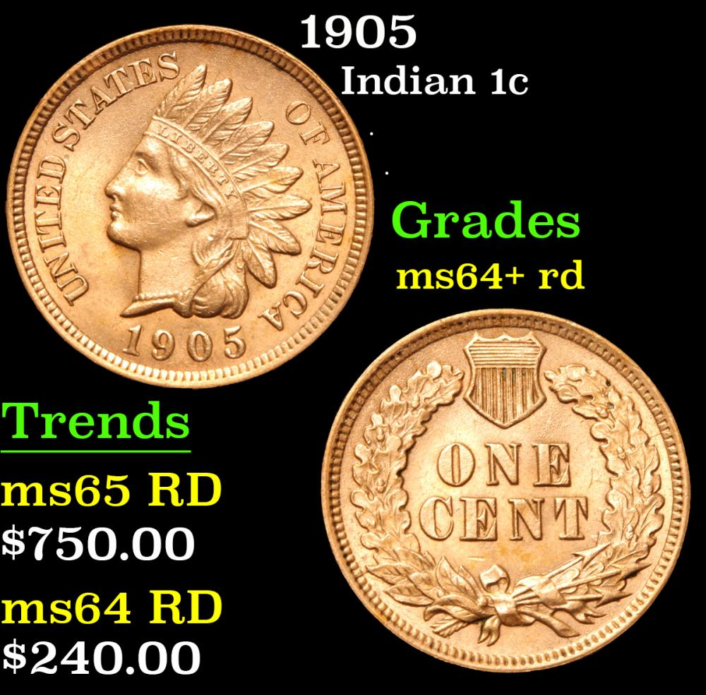1905 . . Indian Cent 1c Grades Choice+ Unc RD