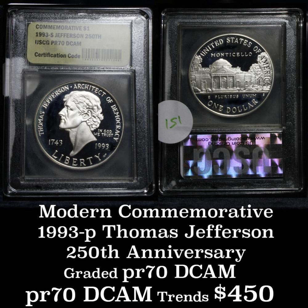 1993-s Thomas Jefferson 250th Anniversary Modern Commem Dollar $1 Graded Gem++ Proof DCAM by USCG