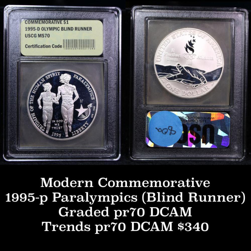 1995-p Paralympics (Blind Runner) Proof Modern Commem Dollar $1 Graded Gem++ Proof DCAM by USCG