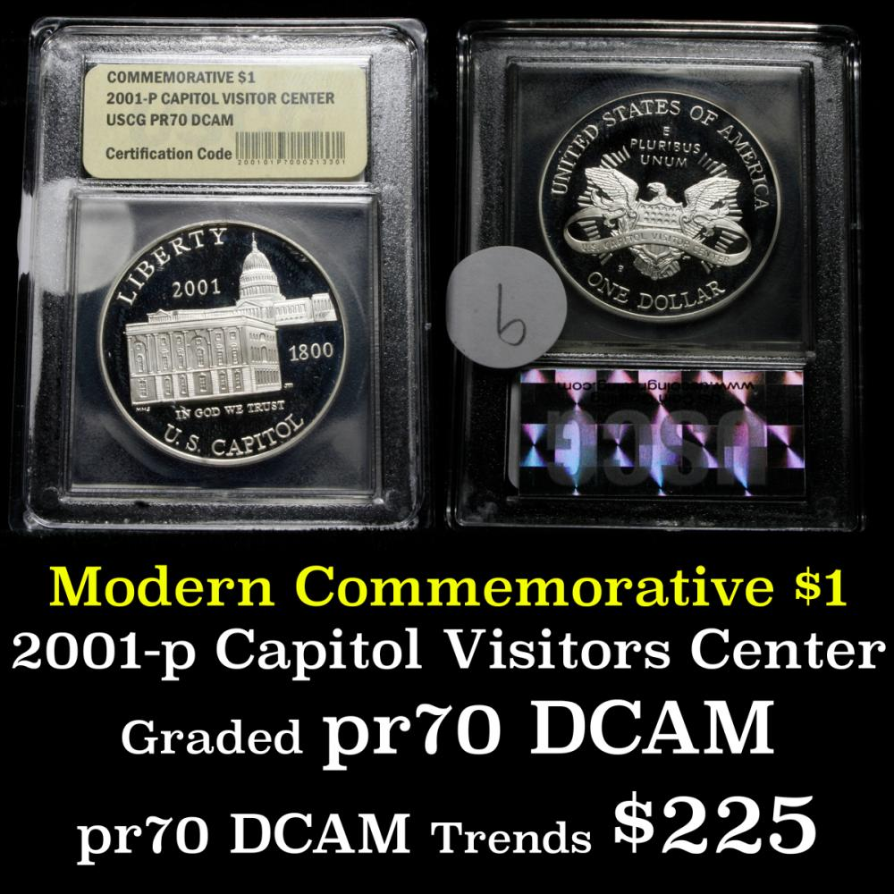 2001-p Capitol Visitor Center Proof Modern Commem Dollar $1 Graded ms70, Perfection by USCG