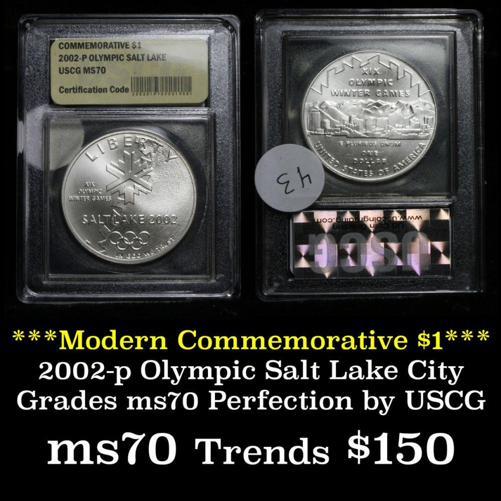 2002-p Olympic Salt Lake Unc Modern Commem Dollar $1 Graded ms70, Perfection by USCG