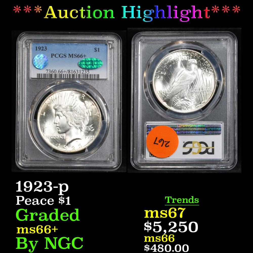 ***Auction Highlight*** PCGS 1923-p . . Peace Dollar $1 Graded ms66+ By PCGS (fc)