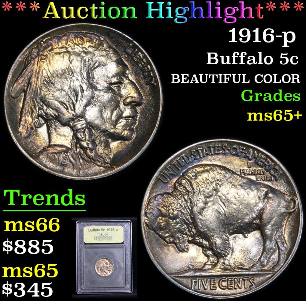 ***Auction Highlight*** 1916-p Buffalo Nickel 5c Graded GEM+ Unc by USCG (fc)
