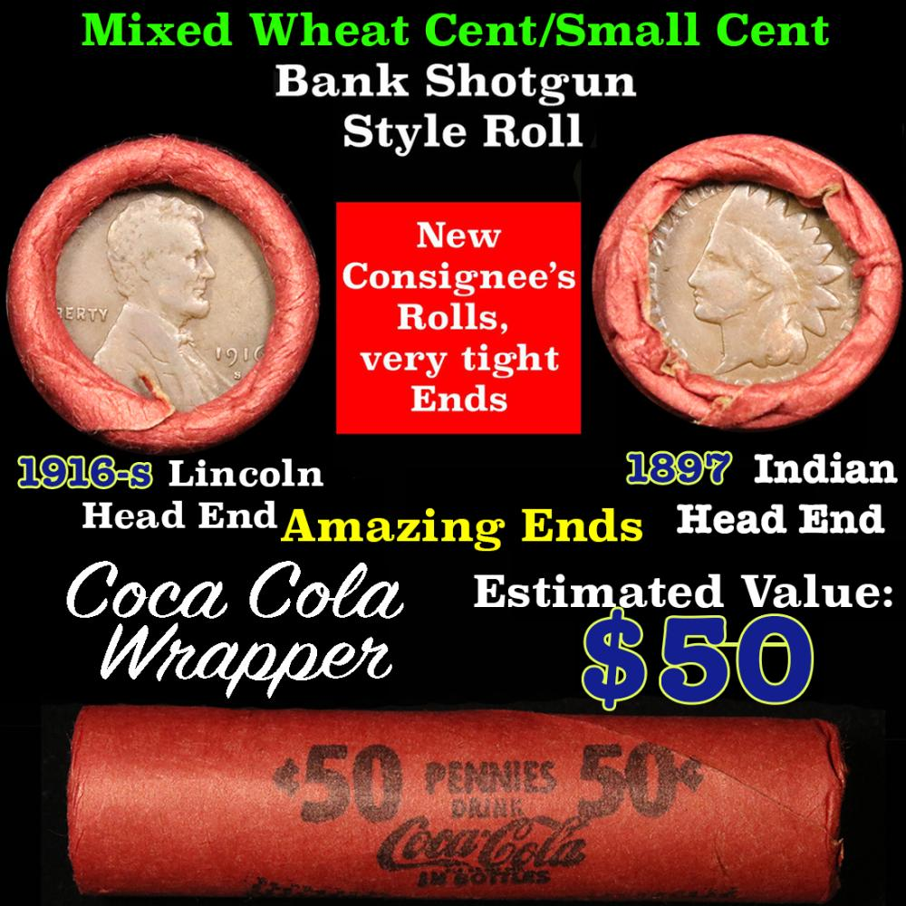 Mixed small cents 1c orig shotgun roll, 1897 Indian one end, 1916-s Lincoln other end
