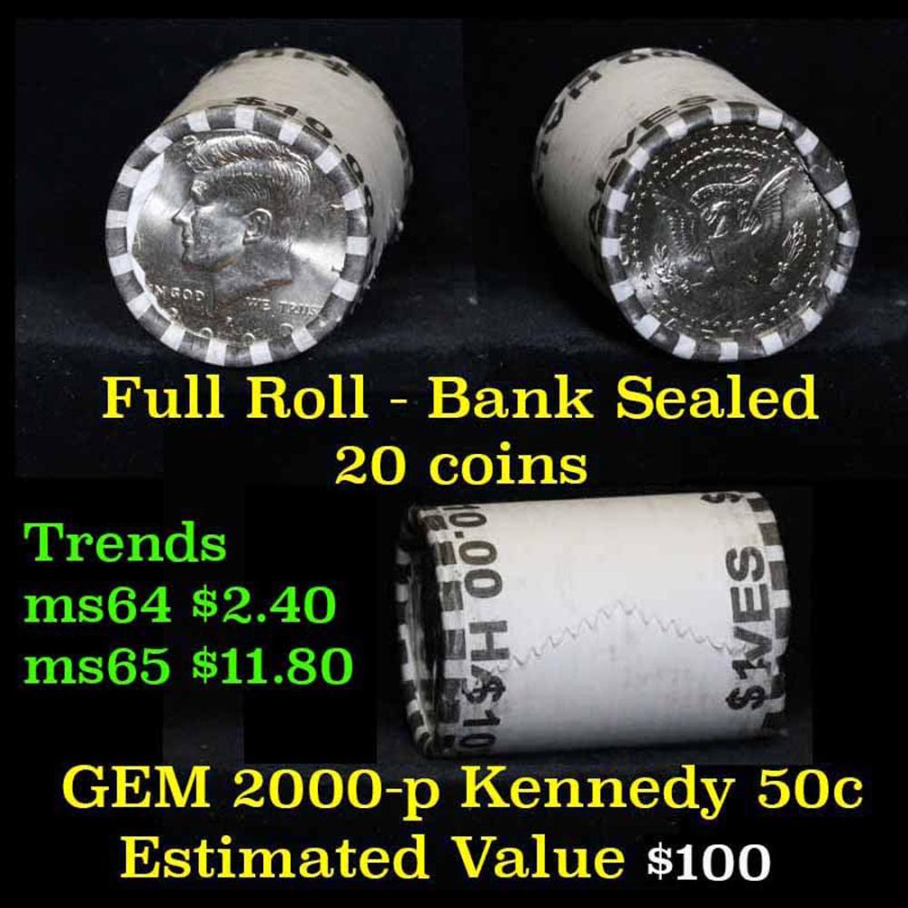 2000-p $10 Bank Rolled Kennedy Half Dollar Shotgun Roll