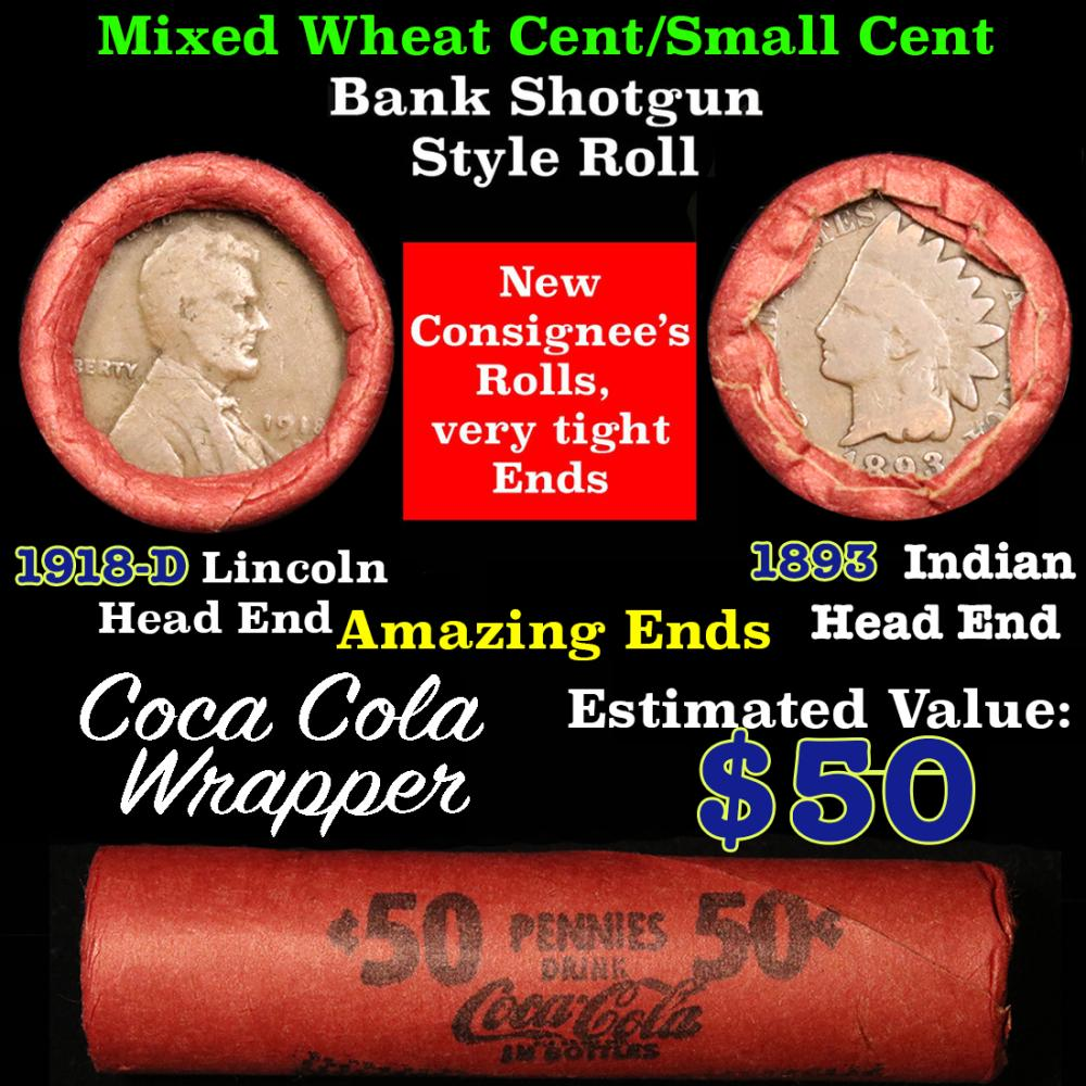 Mixed small cents 1c orig shotgun roll, 1893 Indian one end, 1918-d Lincon other end