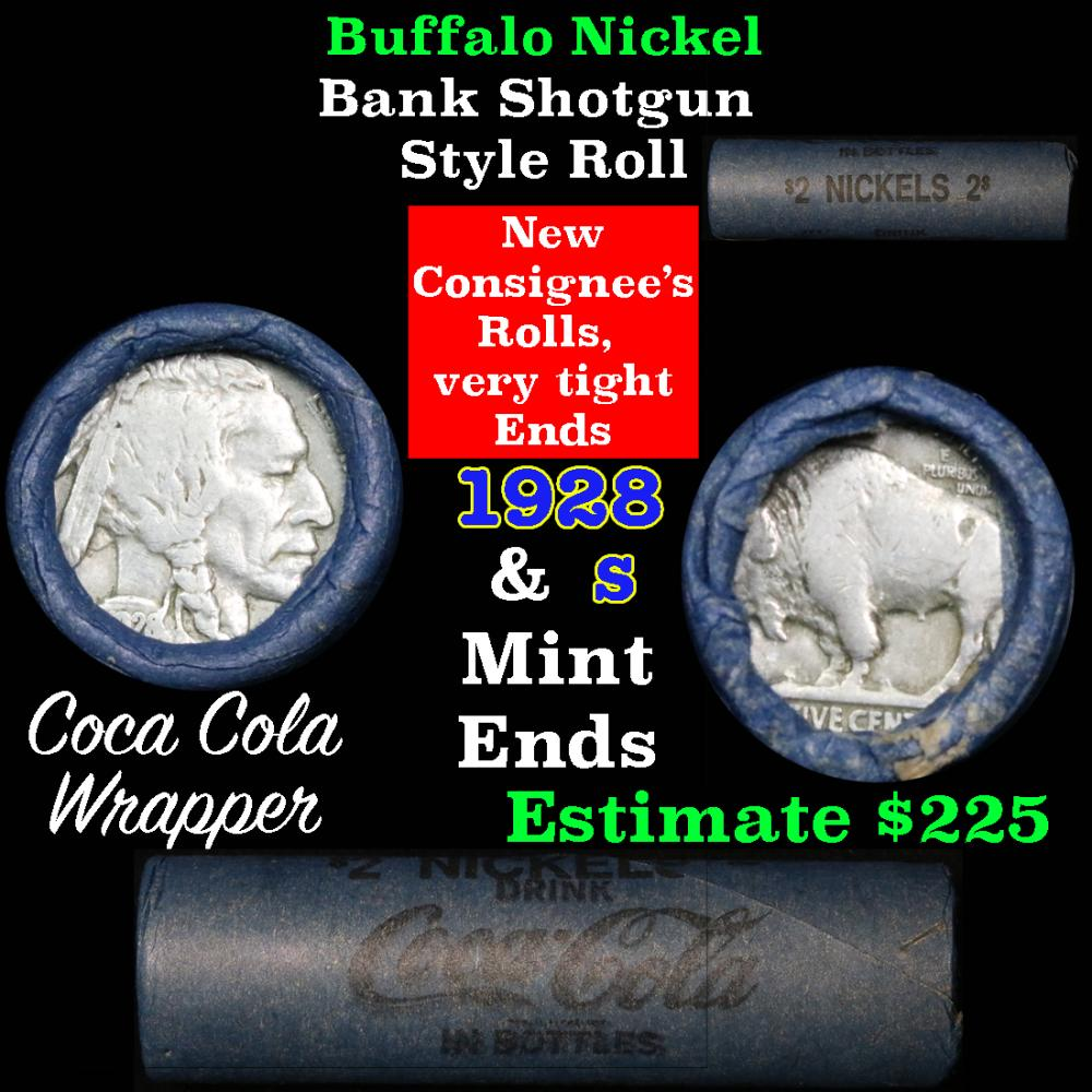 Full roll of Buffalo Nickels, 1928 on one end & a 's' Mint reverse on other end (fc)