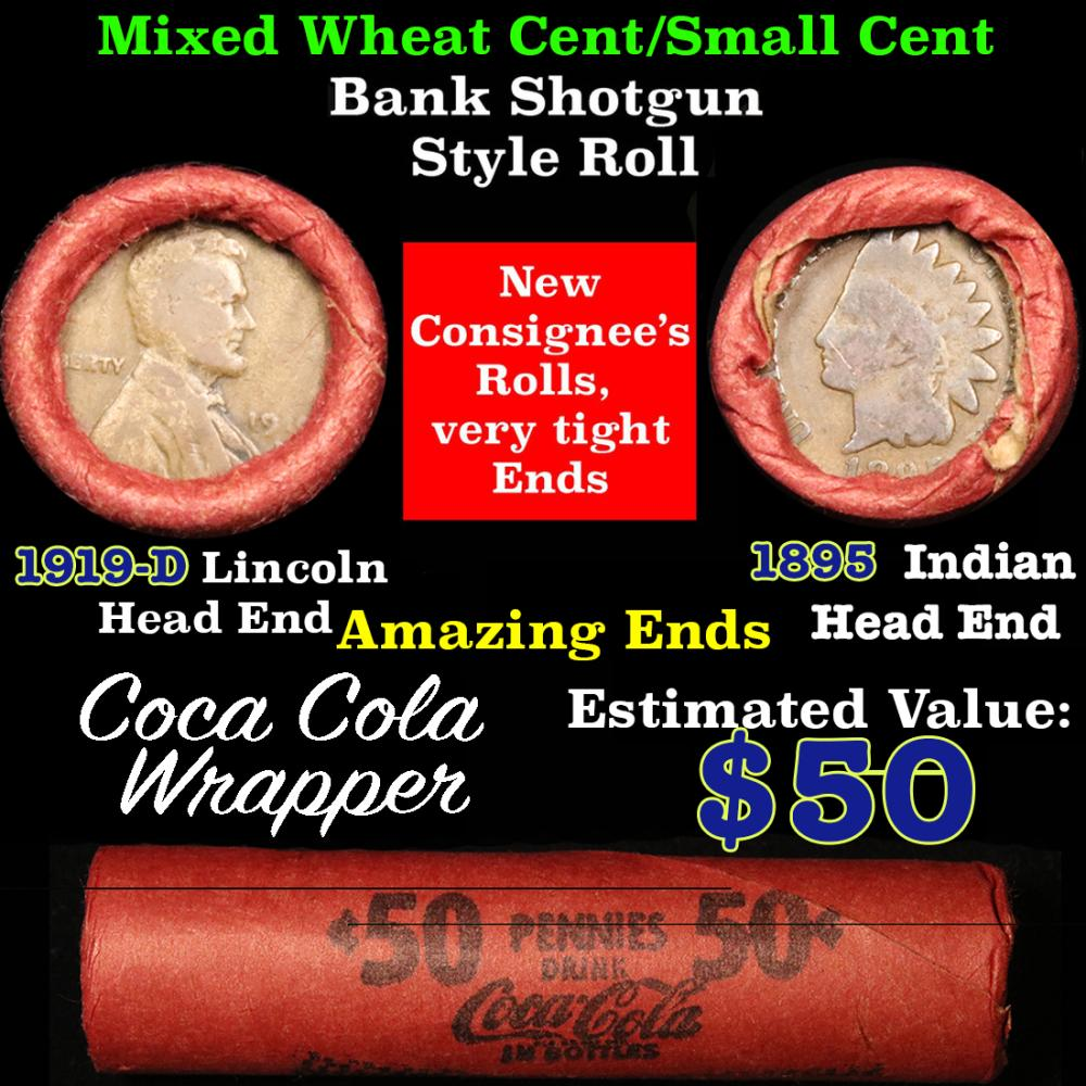 Mixed small cents 1c orig shotgun roll, 1895 Indian one end, 1919-d Lincoln other end