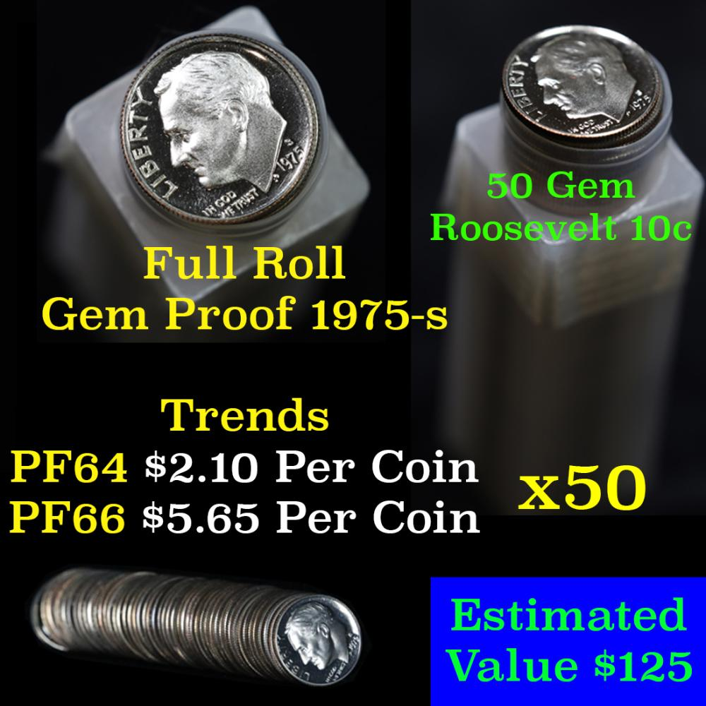Proof 1975-s Roosevelt Dime 10c roll, 50 pieces (fc)