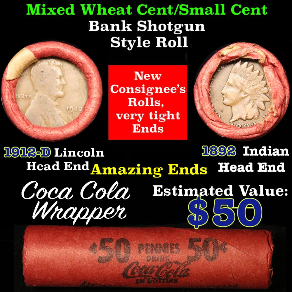 Mixed small cents 1c orig shotgun roll, 1892 Indian one end, 1912-d Lincoln other end