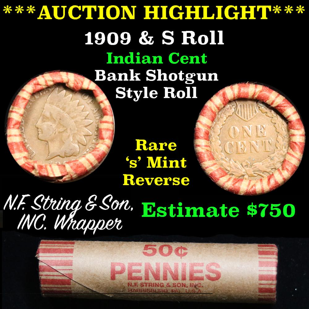 ***Auction Highlight*** Indian 1c Shotgun Roll, 1909 end, KEY date 's' mint on the other, Wow! (fc)