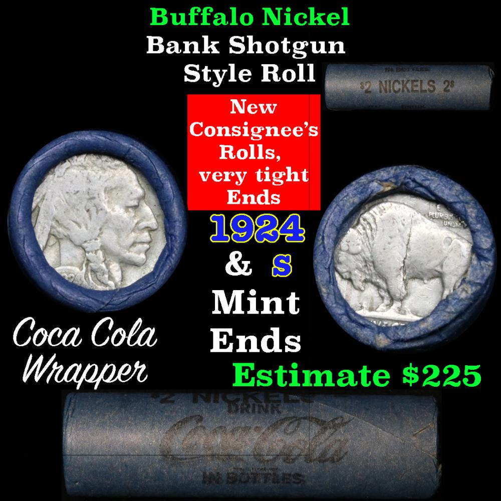 Full roll of Buffalo Nickels, 1924 on one end & a 's' Mint reverse on other end (fc)