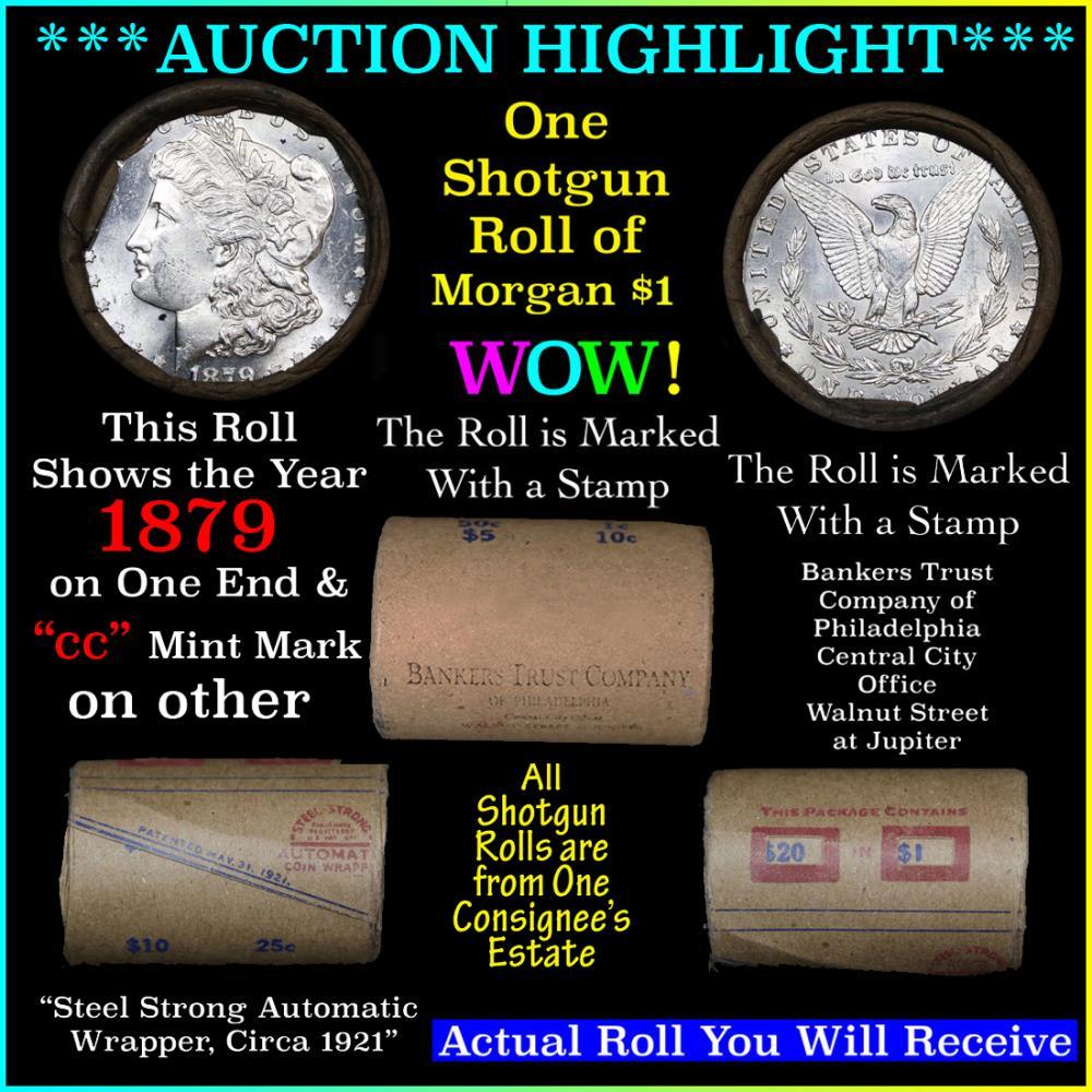 ***Auction Highlight*** 1879 & CC Uncirculated Morgan Dollar Shotgun Roll . . (fc)